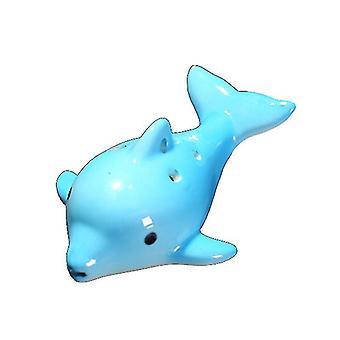 Cartoon Dolphin 6 Hole Ocarina Fluit Wind Muziekinstrument Fluit Keramiek (Skyblue)