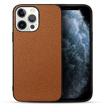 Para iPhone 13 Pro Case Cuero genuino Durable Slim Fit Cubierta protectora marrón