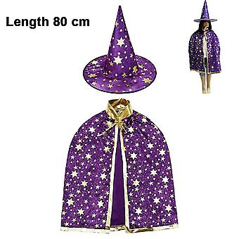 Halloween Costume Wizard Cape Witch Cloak With Hat, 80cm