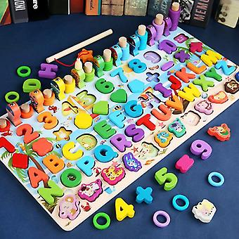 Wooden Math Toys For Kids Early Educational Board Math Fishing Count Numbers  Toys