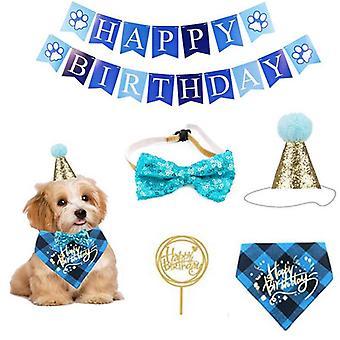5psc Puppy Party Supplies Pet Birthday Party Dekorace ručně nastavitelný kočičí pes šátek klobouk