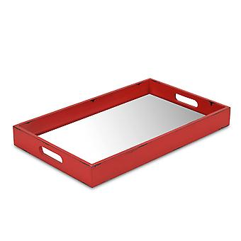 Red Wooden Mirrored Serving Tray