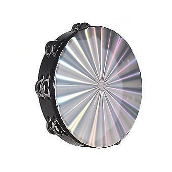Tambour à main en tambourin radiant en bois de 10 pouces avec jingles à double rangée tête de tambour réfléchissante