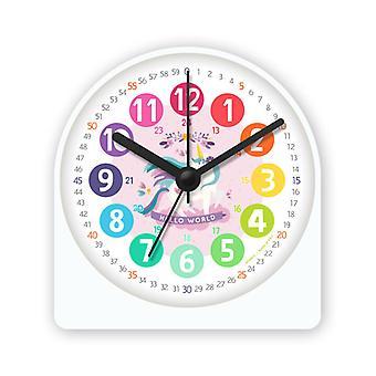 Lasten herätyskello, elektronisen kellon oppiminen, mykkä makuuhuone yöhälytys, 4 tuuman digitaalinen herätyskello, söpö sarjakuvavalokello (yksisarvinen)