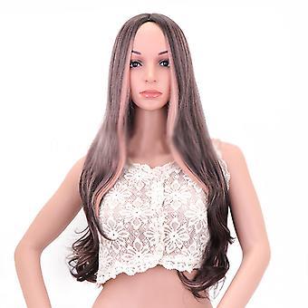 Perücke Damen Big Wave Highlight rosa lange lockige Haare Hitze Haar Perücke