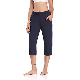 Women Solid Elastic Waist Baggy Pants Cropped Casual Yoga