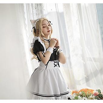 Warm Around The World Red Wine Sweetheart Lolita Cute Maid Costume Cosplay Maid Costume
