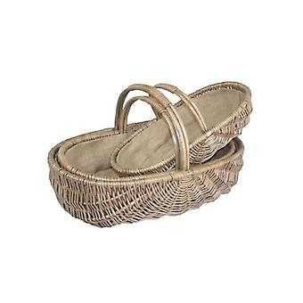 Set of 3 Shallow Antique Wash Lined Garden Trugs