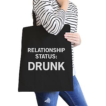 Relationship Status Black Canvas Grocery Bag Funny Graphic Tote
