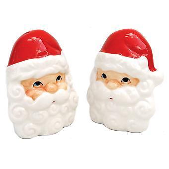 Jolly Santa Face Christmas Holiday Salt and Pepper Shaker Set Ceramic