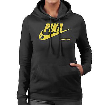 Pokemon Pikachu Nike Logo Pika Just Catch Em Women's Hooded Sweatshirt