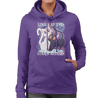 ルナとアルテミス セーラー ムーン猫女性のフード付きスウェット シャツ