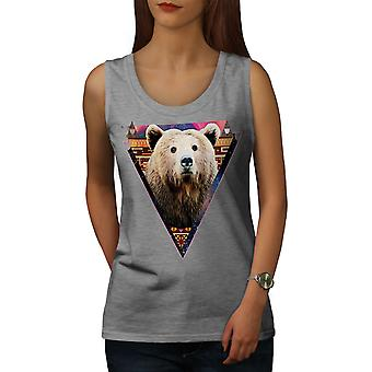 Bear Face Novelty Animal Women GreyTank Top | Wellcoda