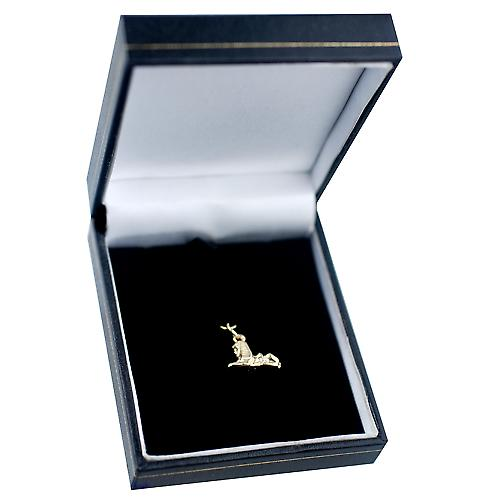 9ct Gold 22x11m seated Leprechaun Pendant or Charm