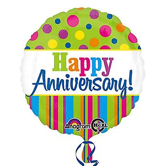 Anagram 18 Inch Circular Foil Patterned Happy Anniversary Balloon