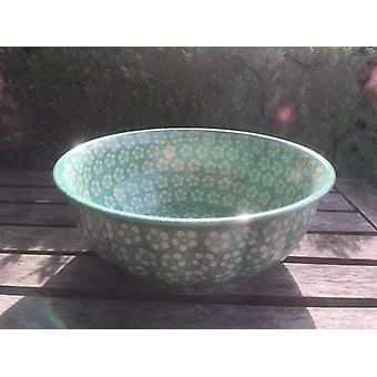 Waves edge Bowl, 2nd choice, Ø 29 cm, height 11 cm, Bolesławiec mint, BSN m 4307