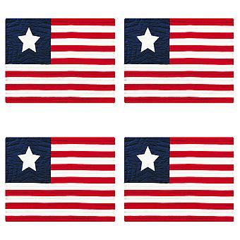 Flaga USA czerwony biały i niebieski patriotyczne bawełna pikowana 18 cali maty zestaw 4