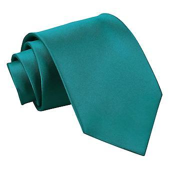 Teal oformaterad Satin klassiska slips