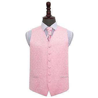 Baby Pink Swirl Wedding Vest & Cravat Set