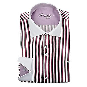 Maddox Street Mulberry Pinstripe Mens Shirt