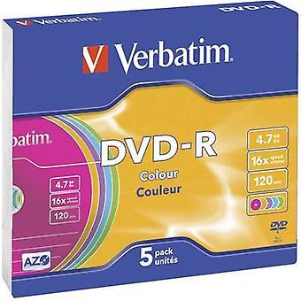 Verbatim 43557 DVD-R en blanco 4,7 GB 5 uds(s) Caja delgada Color