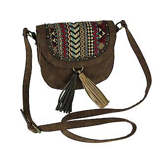 Brown Boho Striped Studded Tassel Crossbody Handbag