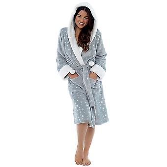 Foxbury Womens Star Pattern Faux Fur Fleece Dressing Gown