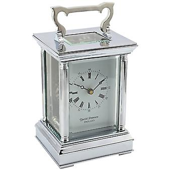David Peterson Anglais 8 Day Mechanical Carriage Clock - Silver