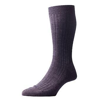 Pantherella Laburnum Rib Merino wollen sokken - houtskool