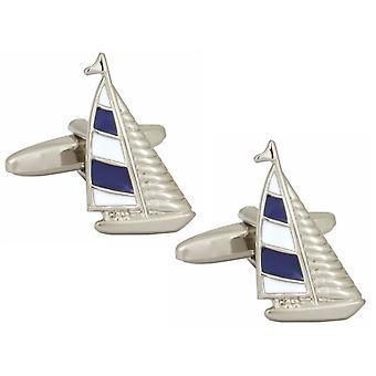 Zennor Yacht Cufflinks - Silver/Blue