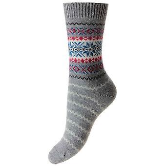 Pantherella Betty Snowflake Cashmere Luxury Socks - Flannel Grey