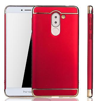 Handy Hülle Schutz Case für Huawei Honor 6X Bumper 3 in 1 Cover Chrom Etui Rot