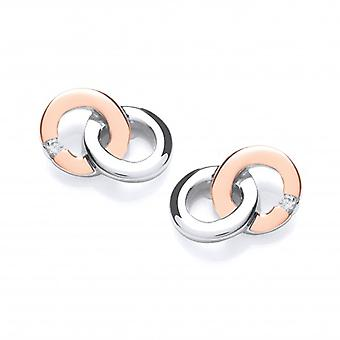 Cavendish French Rose Gold and Silver Linked Ring Earrings
