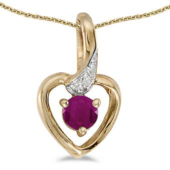LXR 14k Yellow Gold Round Ruby and Diamond Heart Pendant 0.24ct