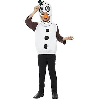 Snowman Costume,Tabard,Carrot Nose,Christmas Children's Fancy Dress, Age 4-6