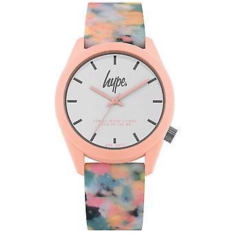 Campagna pubblicitaria   Cinturino in Silicone multicolore rosa   Quadrante bianco   HYU009PU orologio