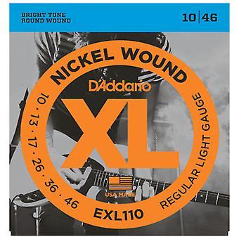 D'Addario Nickel Wound Electric Guitar Strings - Regular Light