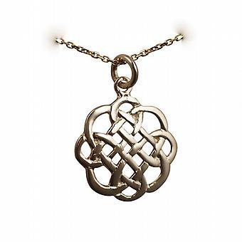 9ct Gold 20x21mm Celtic Knot Design Anhänger mit einem Kabel Kette 20 Zoll