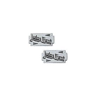 Judas Priest Razor Blade Pewter Stud Earrings