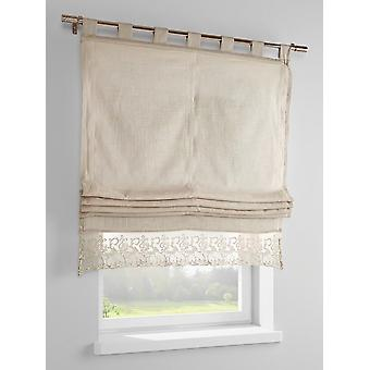 Heine home Roman shade cottage vintage style with top panel beige straps