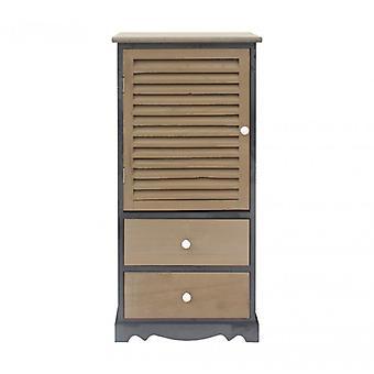 Møbler Rebecca kabinet Bedside sort grå træ 2 skuffer 1 anta 90x42x32