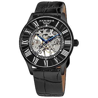 Akribos XXIV Slim orologio meccanico in pelle nera da uomo AK499BK