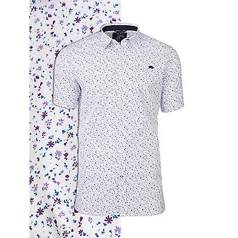 Short Sleeve Ditzy Floral Print Shirt - White/Purple