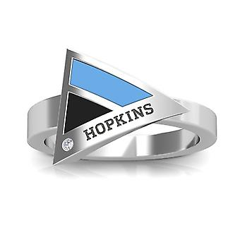 Johns Hopkins University Engraved Sterling Silver Diamond Geometric Ring In Blue and Black