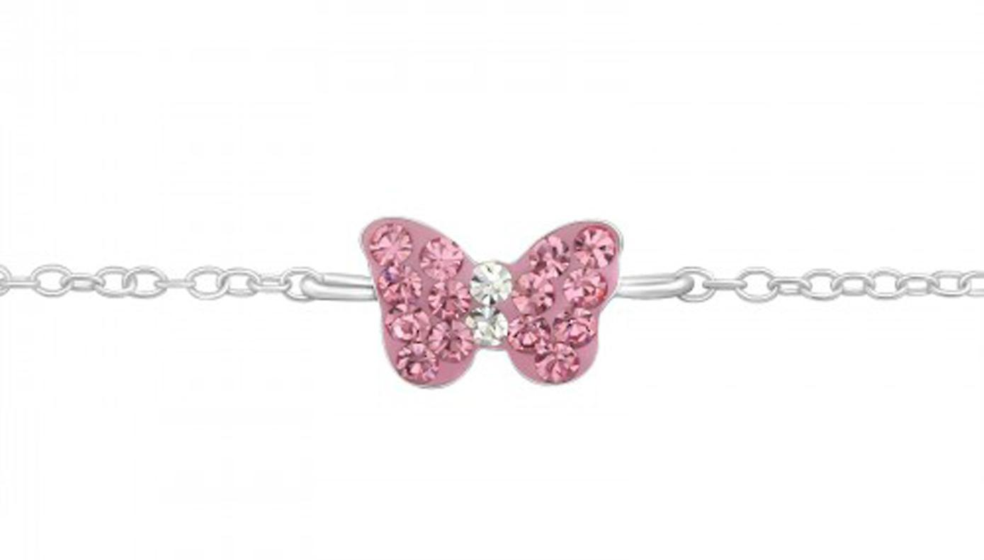 Girls 925 sterling silver bracelet with a pink butterfly