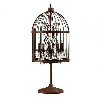 Premier Home Antique Birdcage Table Lamp, Crystal, Multi-Coloured
