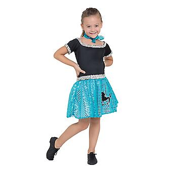 Rock n Roll Dress Sqn Turquoise 128cm