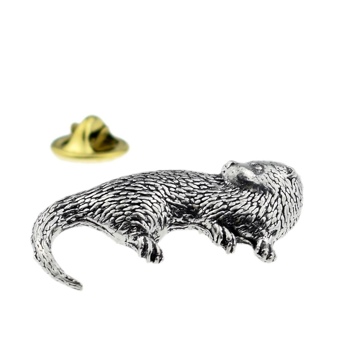 Otter English Pewter Lapel Pin Badge