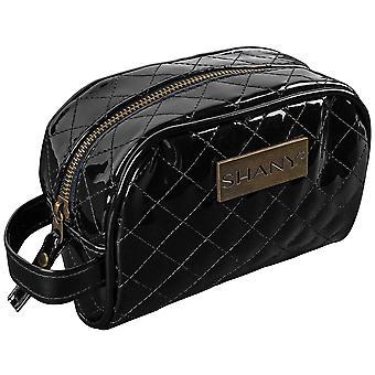 SHANY مبطن حقيبة مستحضرات التجميل السفر - فو براءة اختراع الجلود سستة منظم مع اثنين من جيوب الداخلية ومقبض خارجي - أسود