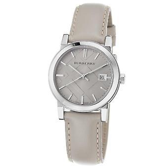 Burberry Bu9107 Women's Large Check Tan Leather Strap Watch